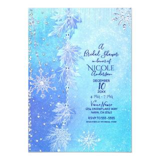 Blue Winter Leaves & Snowflakes Bridal Shower Invitation