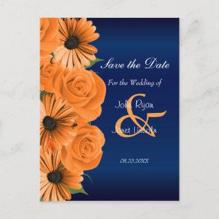 Blue with Orange Rose & Daisy - Save The Date Announcement Postcard