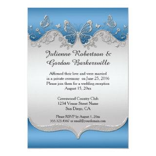 Blue with Ornate Silver Butterflies Post Wedding Invitations