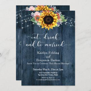 Blue Wood Sunflower Eat Drink and Be Married Invitations