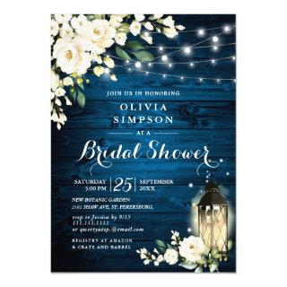 Blue Wood White Roses Lantern  Bridal Shower Invitation