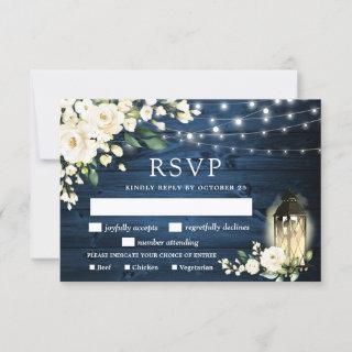 Blue Wood White Roses RSVP Card with Meal Choice