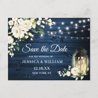 Blue Wood White Roses Rustic Wedding Save the Date Postcard