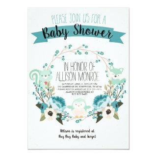 Blue Woodland Animals and Flowers Baby Shower Invitation