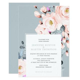 Blush and Dusty Blue Watercolor Floral Wedding Invitation