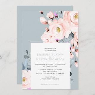 Blush and Dusty Blue Watercolor Floral Wedding Invitations