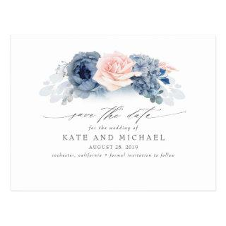 Blush and Navy Blue Floral Boho Save the Date Postcard