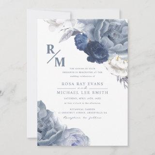 Blush and Navy Blue Floral Wedding Invitation