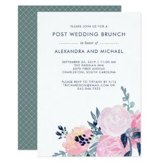Blush and Navy Floral   Post Wedding Brunch Invitations