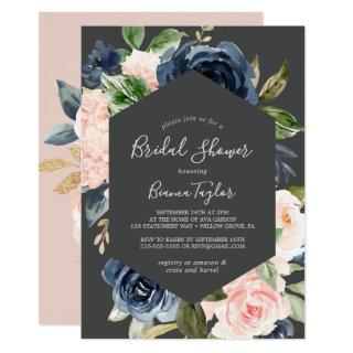 Blush and Navy Flowers | Dark Gray Bridal Shower Invitation