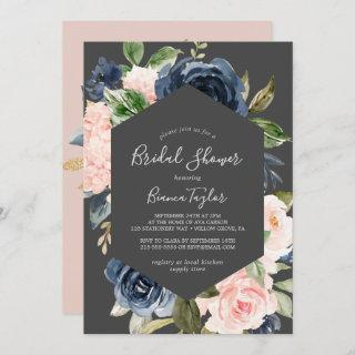 Blush and Navy Flowers | Dark Gray Bridal Shower Invitations