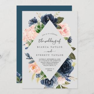 Blush and Navy Flowers | Grey All In One Wedding Invitations