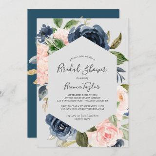 Blush and Navy Flowers | Light Grey Bridal Shower Invitations