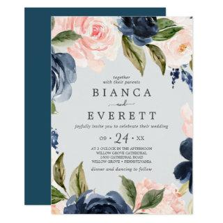 Blush and Navy Flowers | Light Grey Casual Wedding Invitation