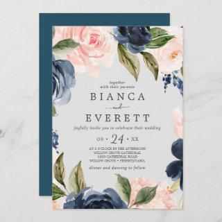 Blush and Navy Flowers | Light Grey Casual Wedding Invitations