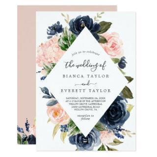 Blush and Navy Flowers | White All In One Wedding Invitation
