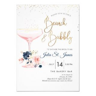 Blush+Blue Flowers Brunch Bubbly Pink Champagne Invitations