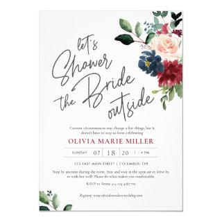 Blush Burgundy and Navy Drive By Bridal Shower Invitations