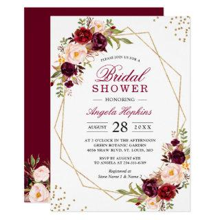 Blush Burgundy Floral Gold Frame Bridal Shower Invitations