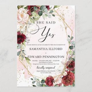 Blush burgundy floral gold she said yes engagement Invitations