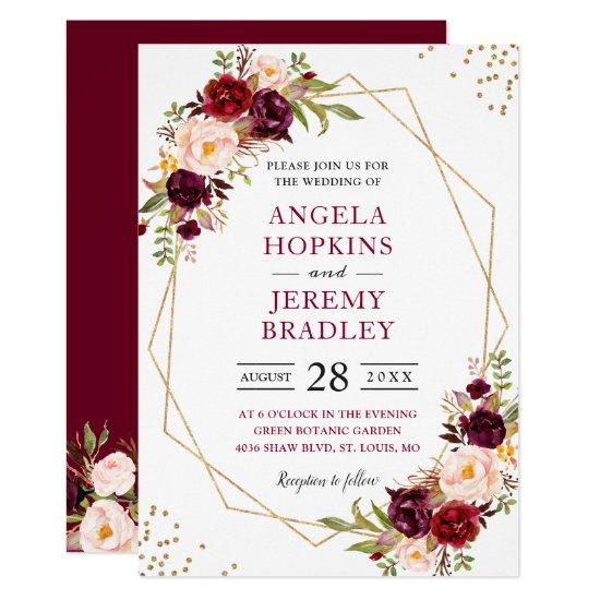 Blush Burgundy Floral Modern Gold Frame Wedding Invitations