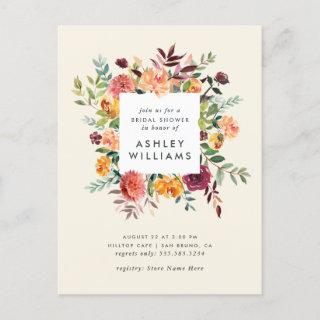 Blush & Burgundy Marsala Floral Bridal Shower Invitations Postcard