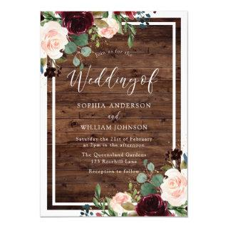 Blush & Burgundy Red Flowers Rustic Wood Wedding Invitations