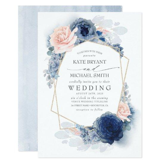 Blush Dusty and Navy Blue Floral Wedding Invitation