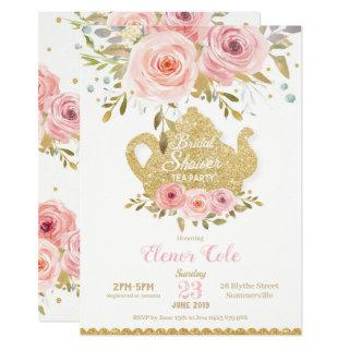 Blush Floral Bridal Shower Tea Party Invitations