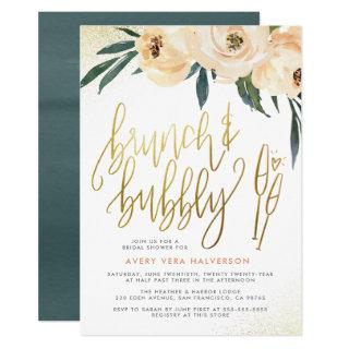 Blush Floral Brunch & Bubbly Bridal Shower Invitations