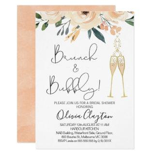 Blush Floral Brunch Bubbly Bridal Shower Invites