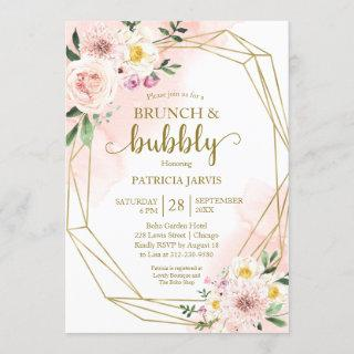 Blush Floral Gold Brunch And Bubbly Bridal Shower Invitations