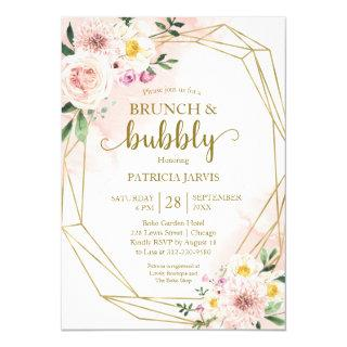 Blush Floral Gold Brunch And Bubbly Bridal Shower Invitation