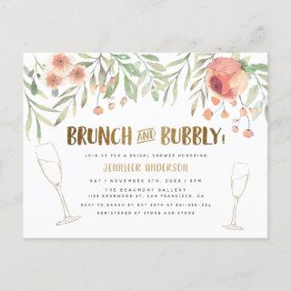 Blush Floral & Gold Brunch & Bubbly Bridal Shower Invitation Postcard