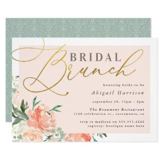 Blush Floral Gold Script Bridal Brunch Invitation
