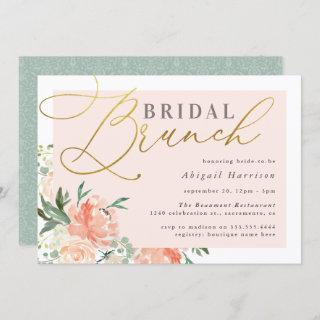 Blush Floral Gold Script Bridal Brunch Invitations