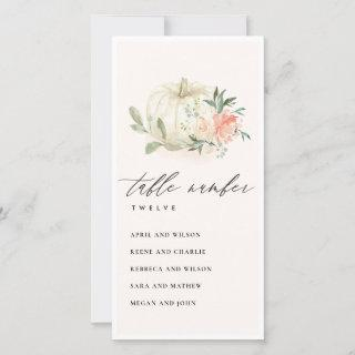 Blush Floral Pumpkin Seating Chart Table Number