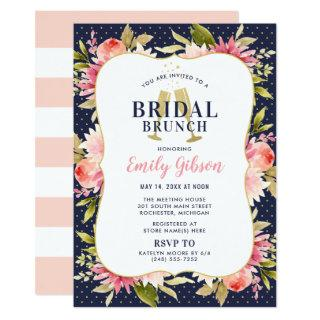 Blush Floral Watercolor with Navy Bridal Brunch Invitation