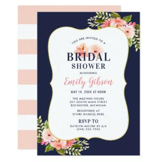 Blush Floral Watercolor with Navy Bridal Shower Invitations