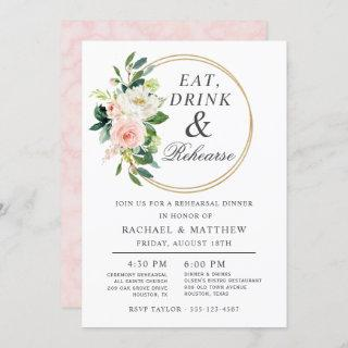 Blush Floral Wedding Rehearsal Dinner Invitation