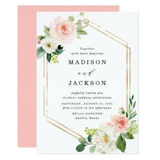 Blush Florals | Gold Frame Wedding Invitations