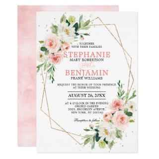 Blush Florals Gold Modern Geometric Frame Wedding Invitation
