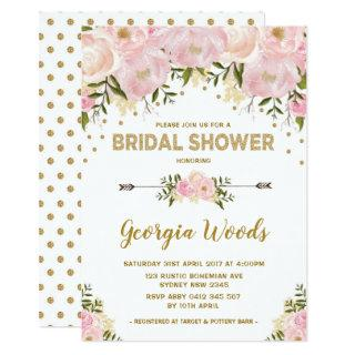 Blush Gold Bridal Shower Watercolor Peonies Invitation
