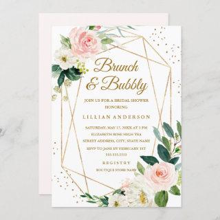 Blush Gold Floral Brunch And Bubbly Bridal Shower Invitation