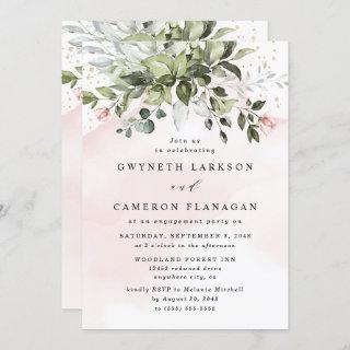 Blush Gold Greenery Dusty Blue Engagement Party