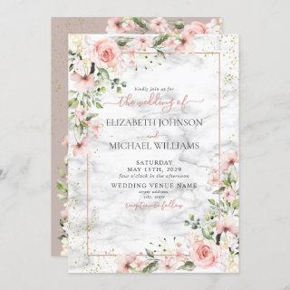 Blush Gold Greenery Dusty Pink Floral Wedding Invitations