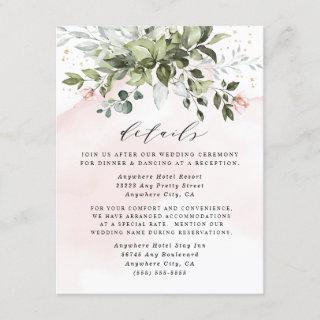 Blush Gold Greenery Succulent Dusty Blue Wedding Enclosure Card