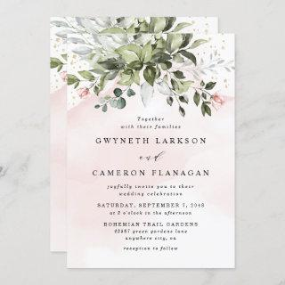 Blush Gold Greenery Succulent Dusty Blue Wedding Invitations