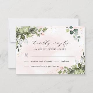 Blush Gold Greenery Succulent Dusty Blue Wedding RSVP Card