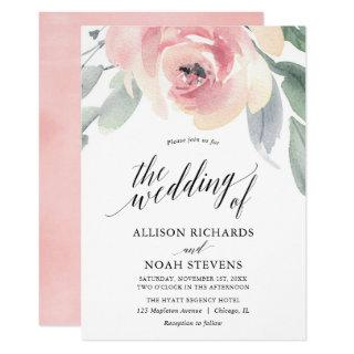 Blush grey floral watercolor elegant wedding Invitations